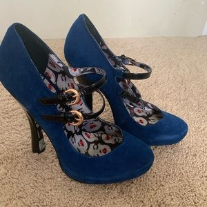 Betsy Johnson Blue Suede Heals